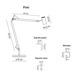 Table Wall or Ceiling Lamp POLO Marset