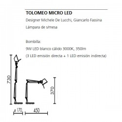 Lámpara de Mesa TOLOMEO MICRO con Base Artemide